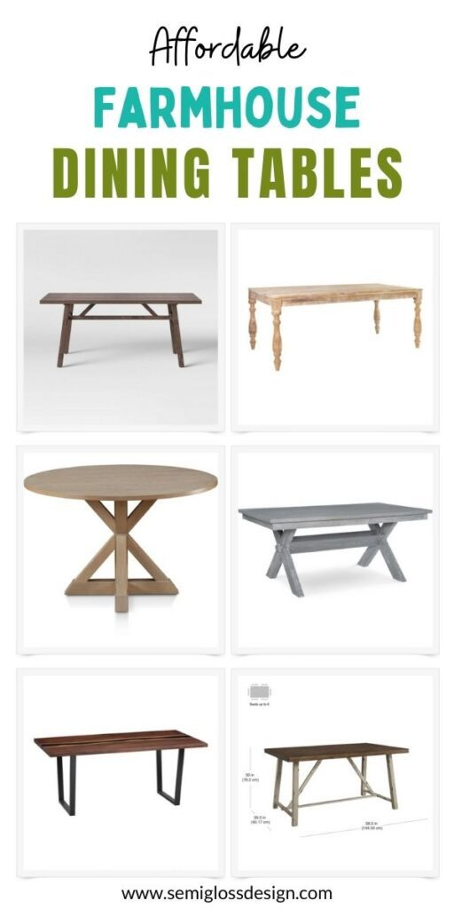 pin image - collage of farmhouse tables