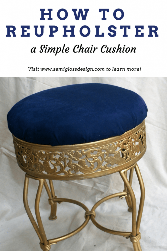 Learn how to reupholster a simple chair cushion to customize your furniture. This easy DIY tutorial can be used for dining room chair cushions as well.