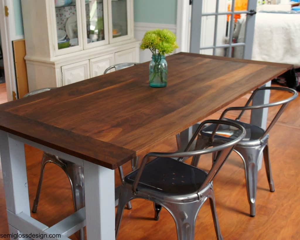 farmhouse table with uncomfortable metal chairs