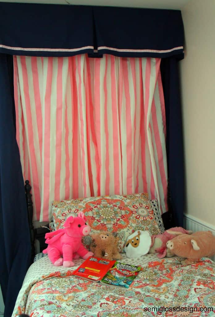 pink and navy bedroom makeover for little girl
