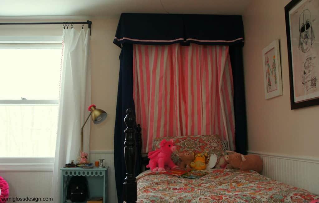 half canopy in girls room