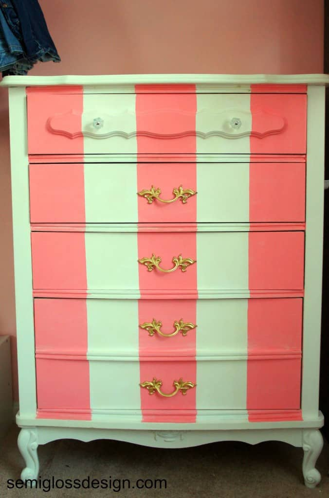 pink and white striped french dresser
