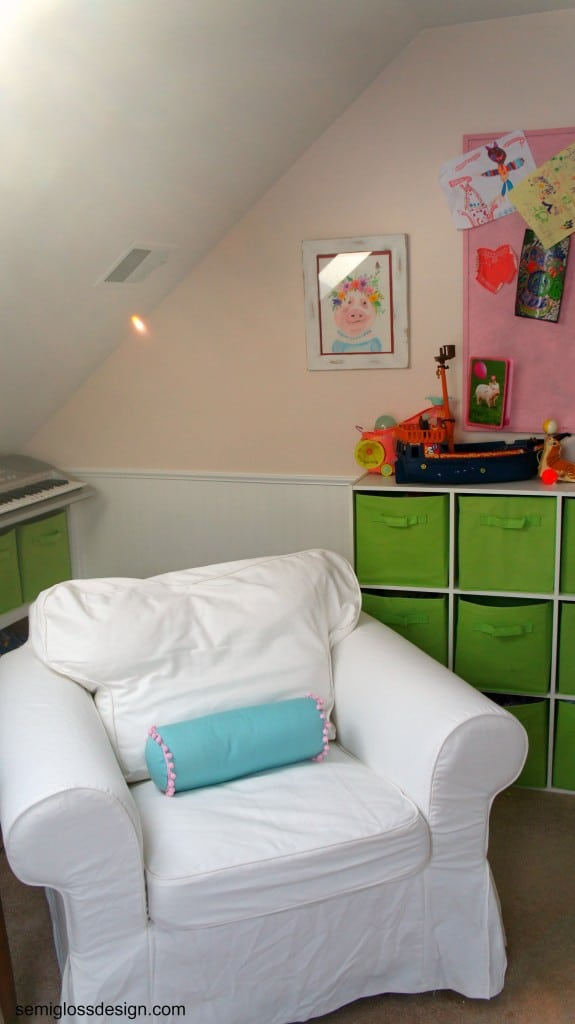 white ektorp chair in girl's room