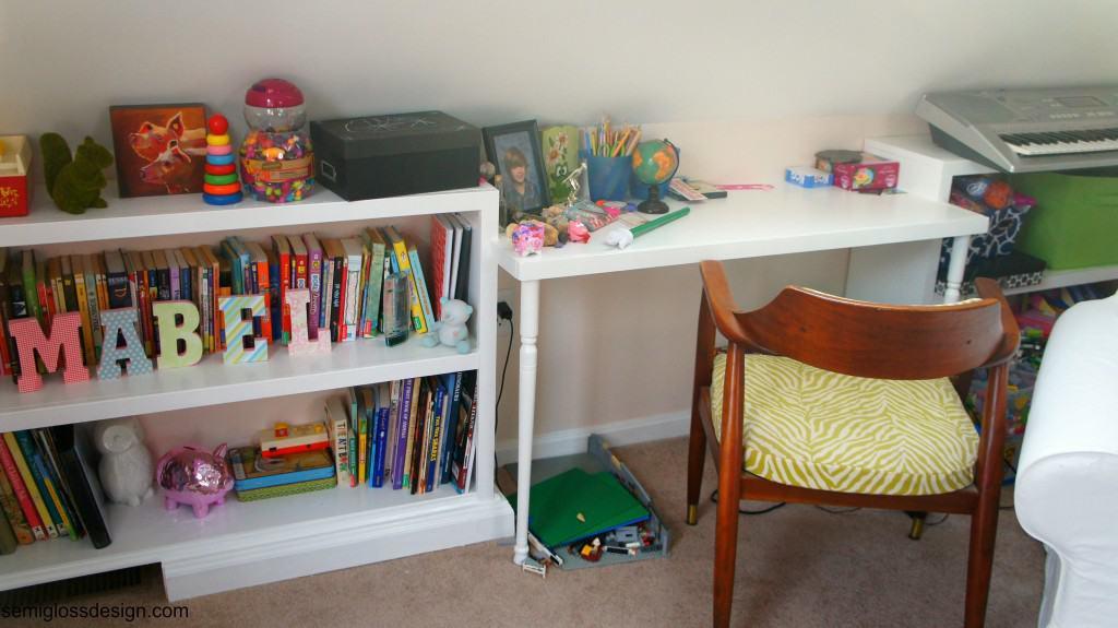 built in shelves and desk