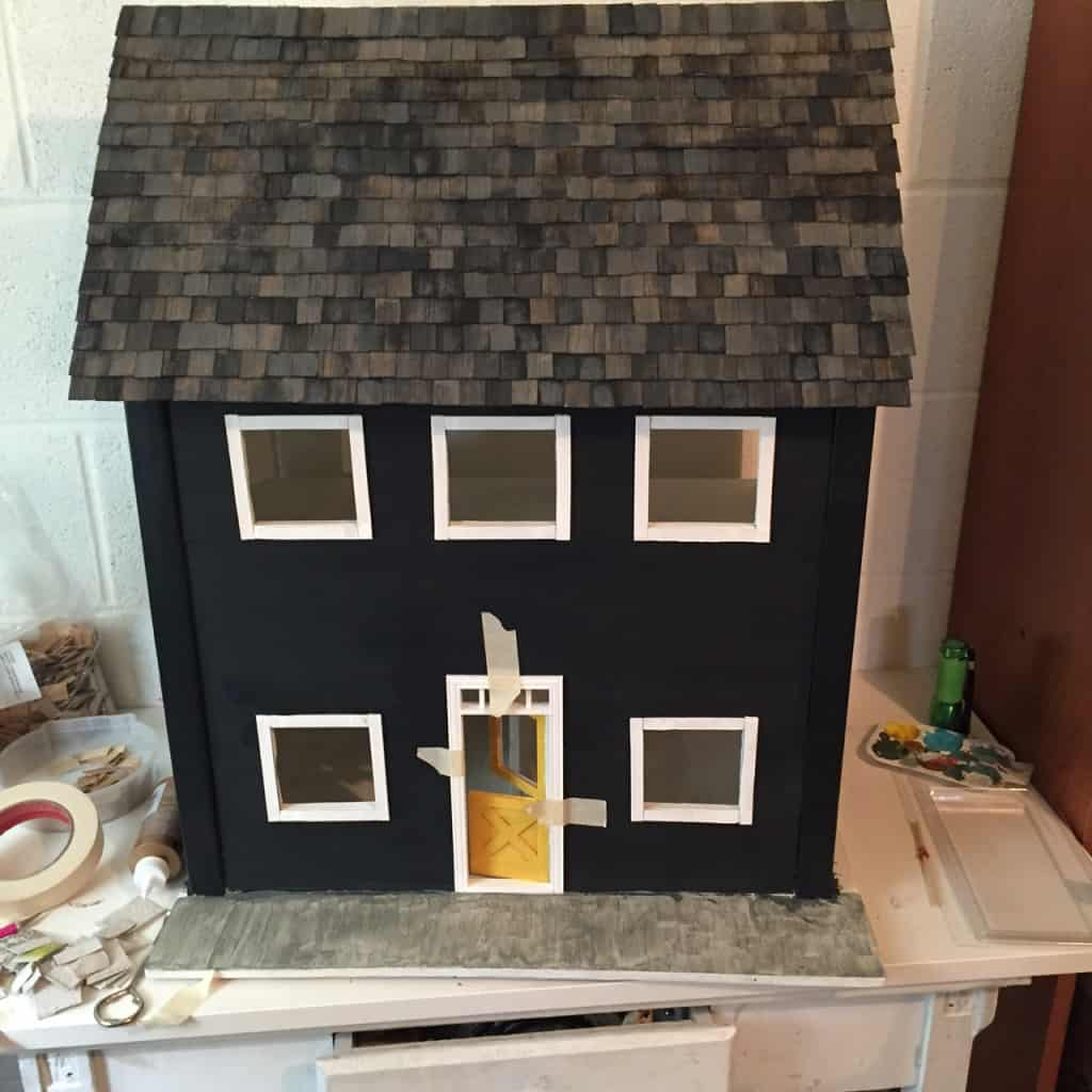 DIY dollhouse shingles on roof