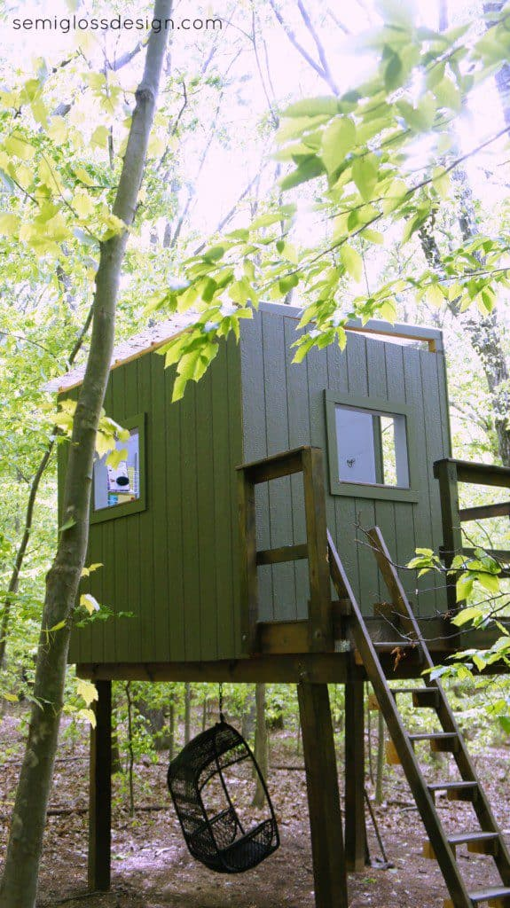 Treehouse painted green