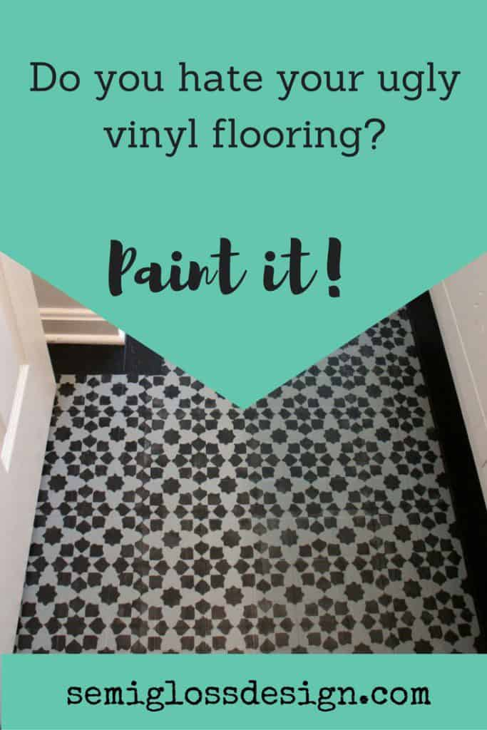 Stenciled Floor You Can Paint Your Ugly Vinyl Tile