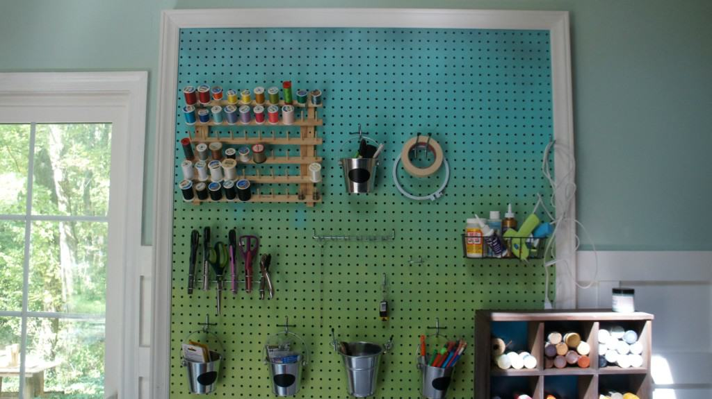 Sturdy craft pegboard, spray painted ombre