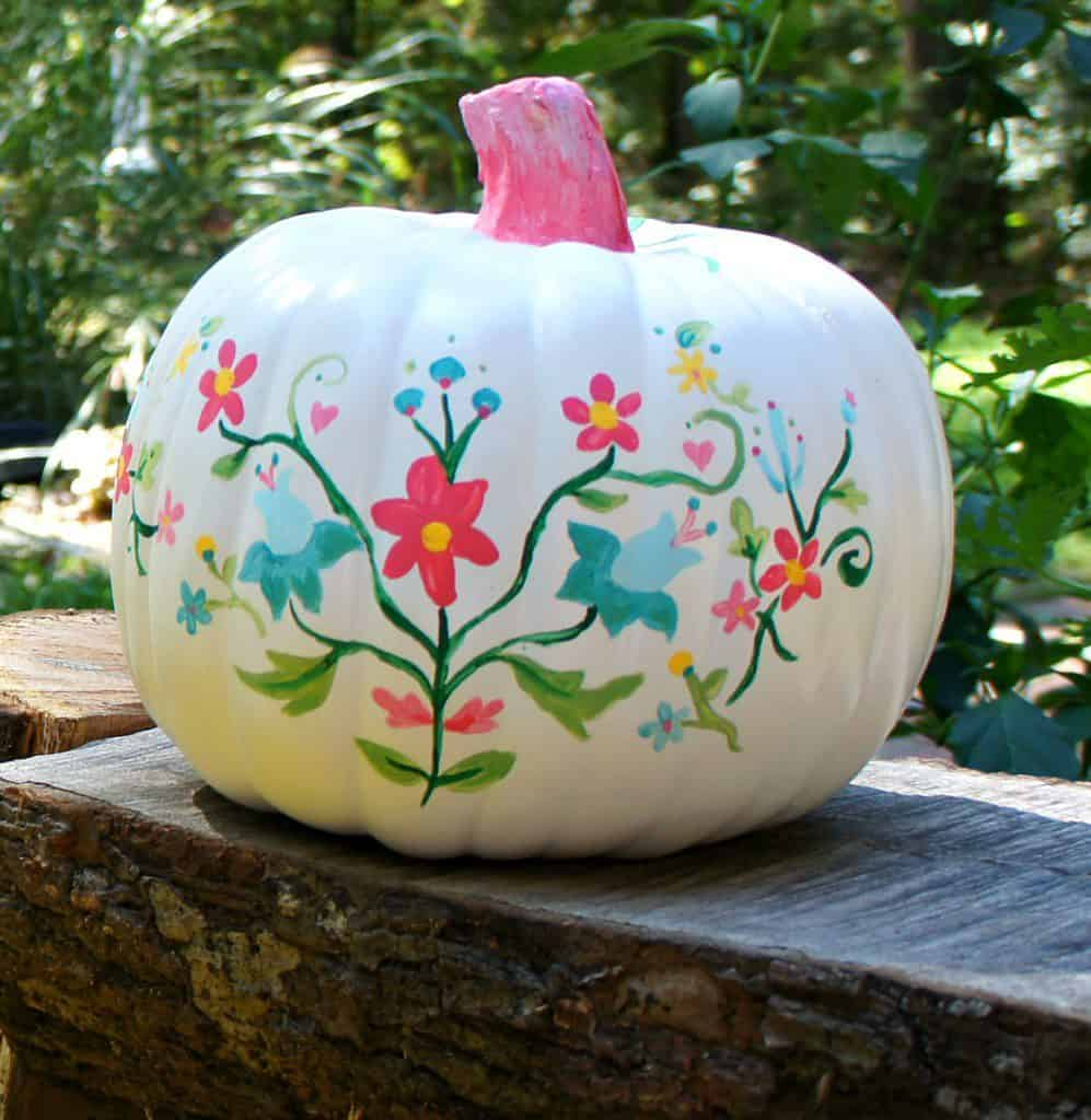 floral embroidery inspired pumpkins