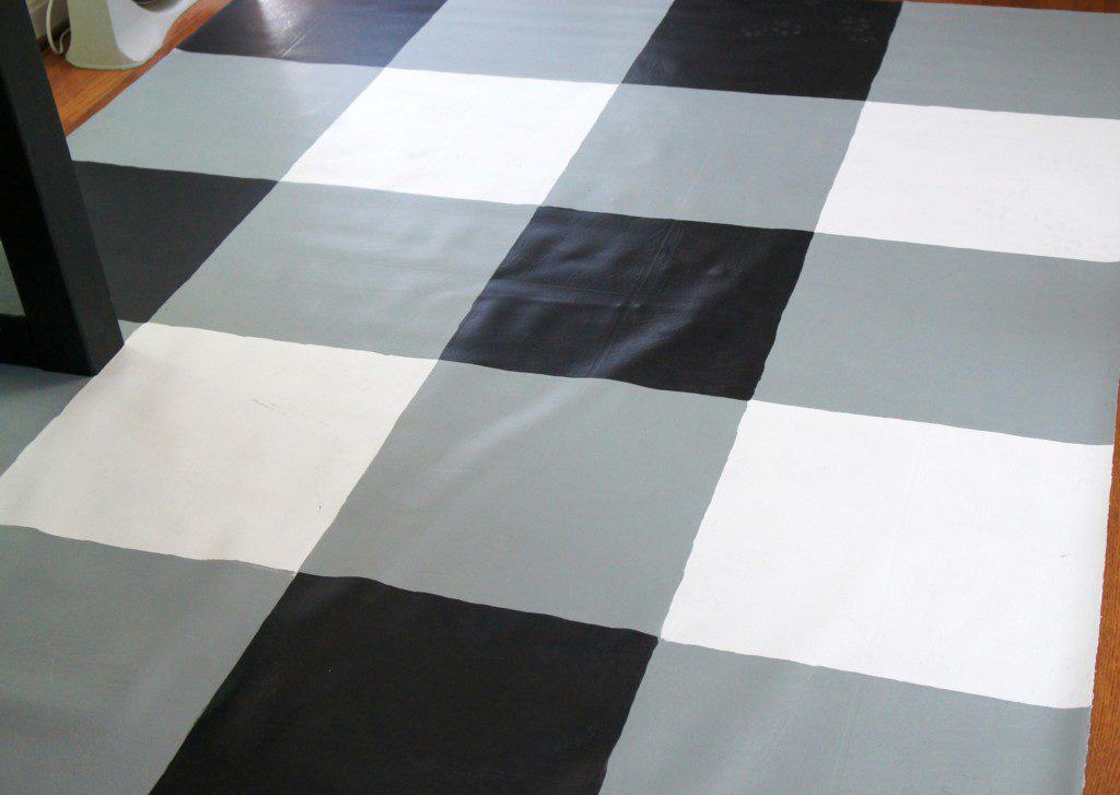 Diy buffalo check painted vinyl floor cloth semigloss design for Painted vinyl floor cloth