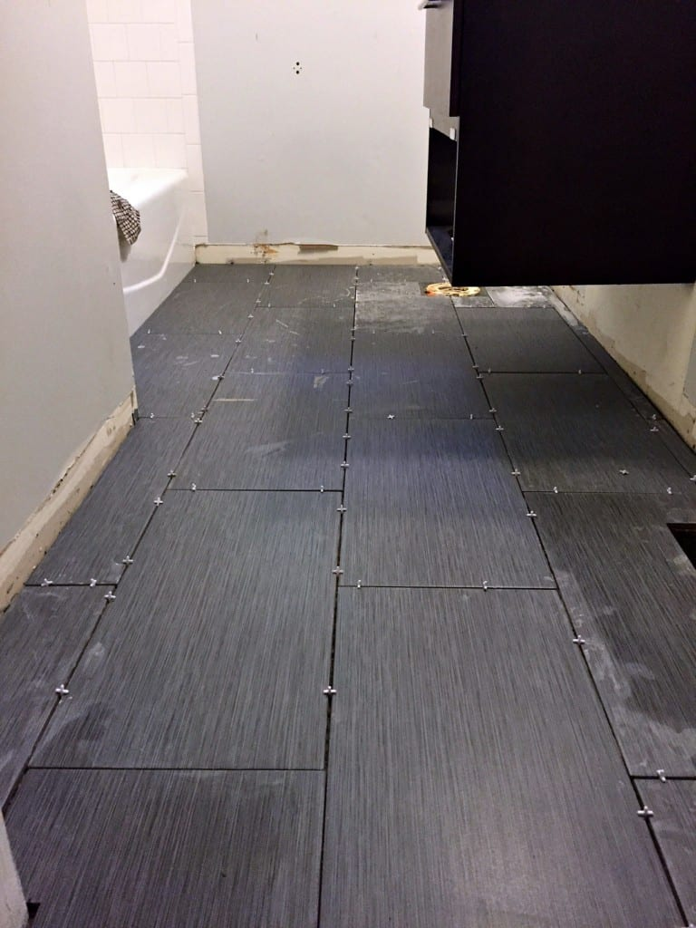 tiling a floor with spacers