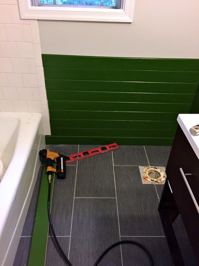 how we tiled around the toilet pipe