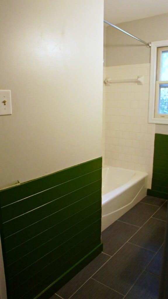 gray tile floor in bathroom