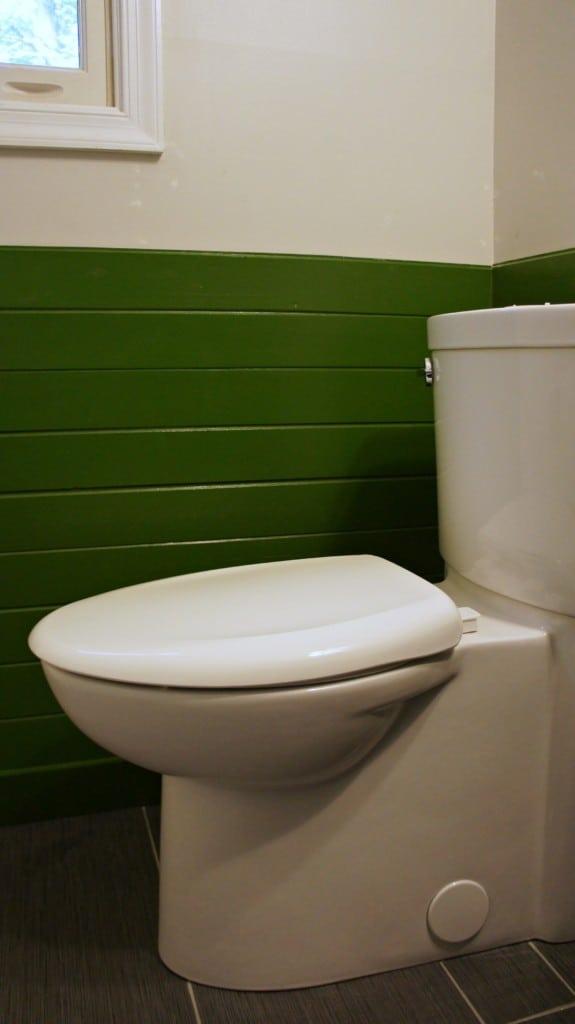 seamless toilet on new tile floor