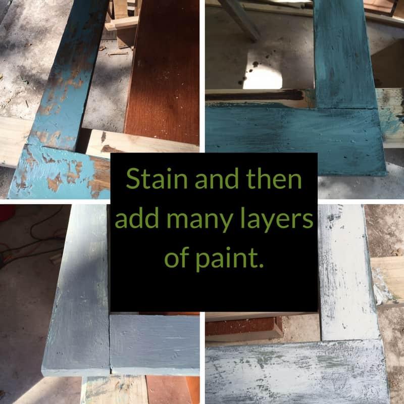 Many coats of paint equal a chippy farmhouse finish