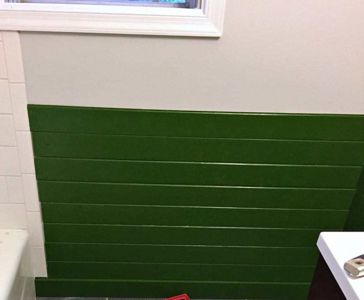 green shiplap walls in bathroom