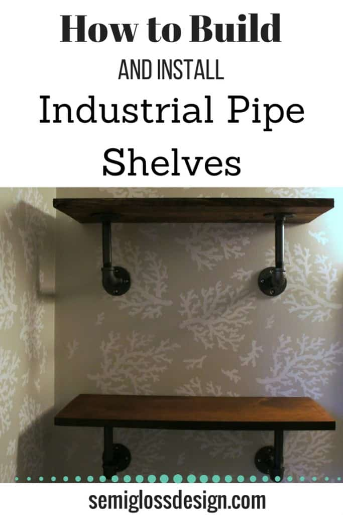 industrial pipe shelves | DIY pipe shelves | DIY shelves | bathroom pipe shelves | galvanized pipe shelves | plumbing pipe shelves | metal pipe shelves | iron pipe shelves | black pipe shelves | fixer upper pipe shelves | wall shelves