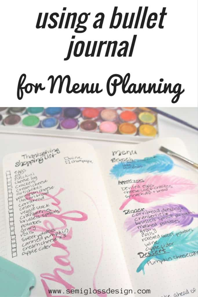 Fall in love with meal planning in a bullet journal. A fabulous bullet journal layout to inspire your holiday menu.