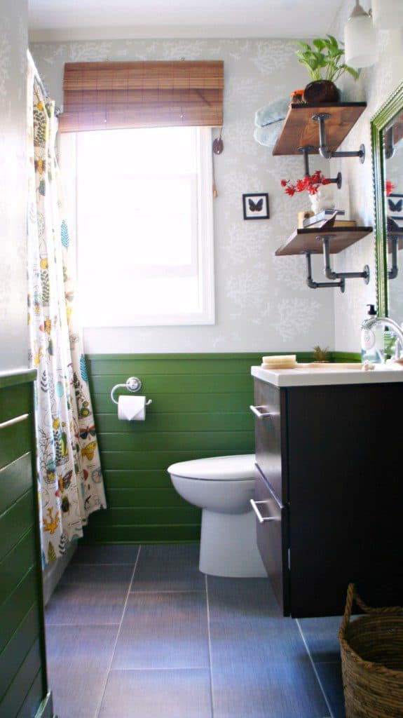 green shiplap in bathroom