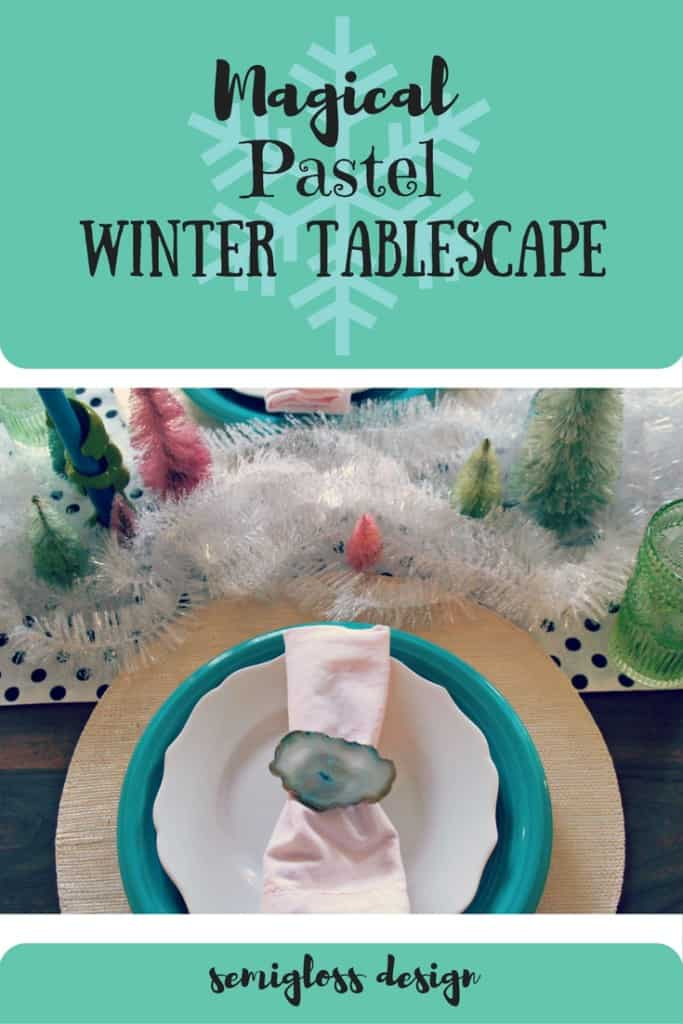 Bottle brush trees, agate and tinsel make a magical winter tablescape.