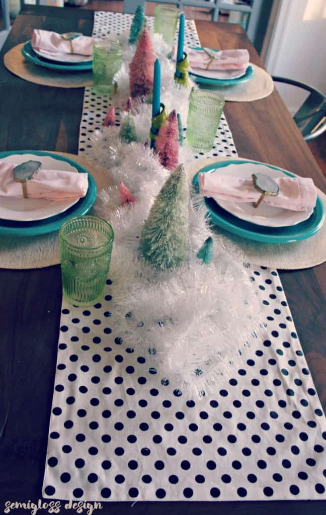 Color and whimsy dominate this magical winter tablescape.