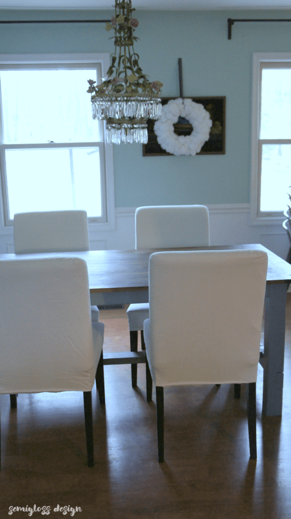 White IKEA dining chairs
