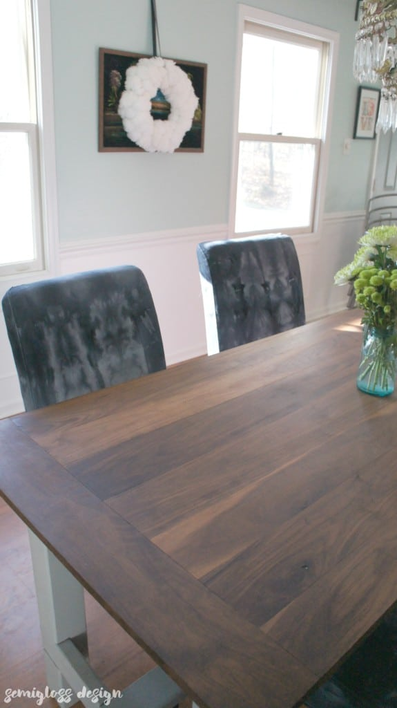 finished slipcovers with wood table