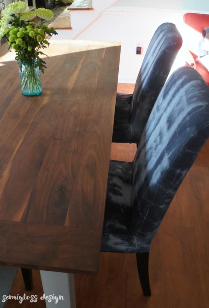 shibori dyed slipcovers with farmhouse table