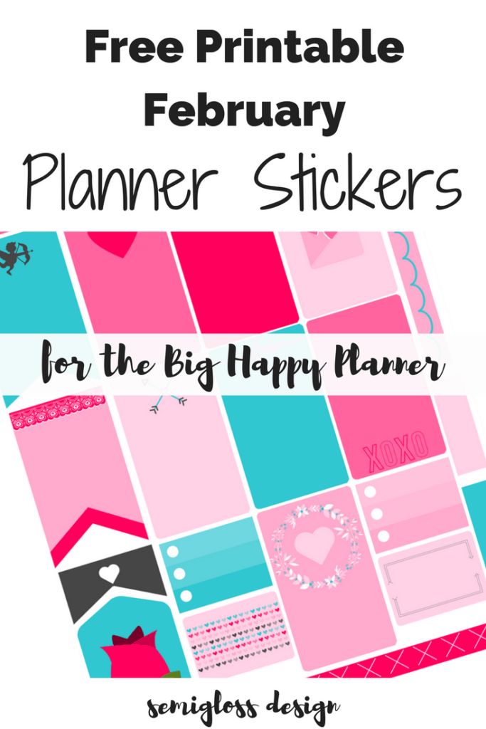 Free printable Big Happy Planner stickers for the month of February in pinks, red and blue. Click here for your free download!