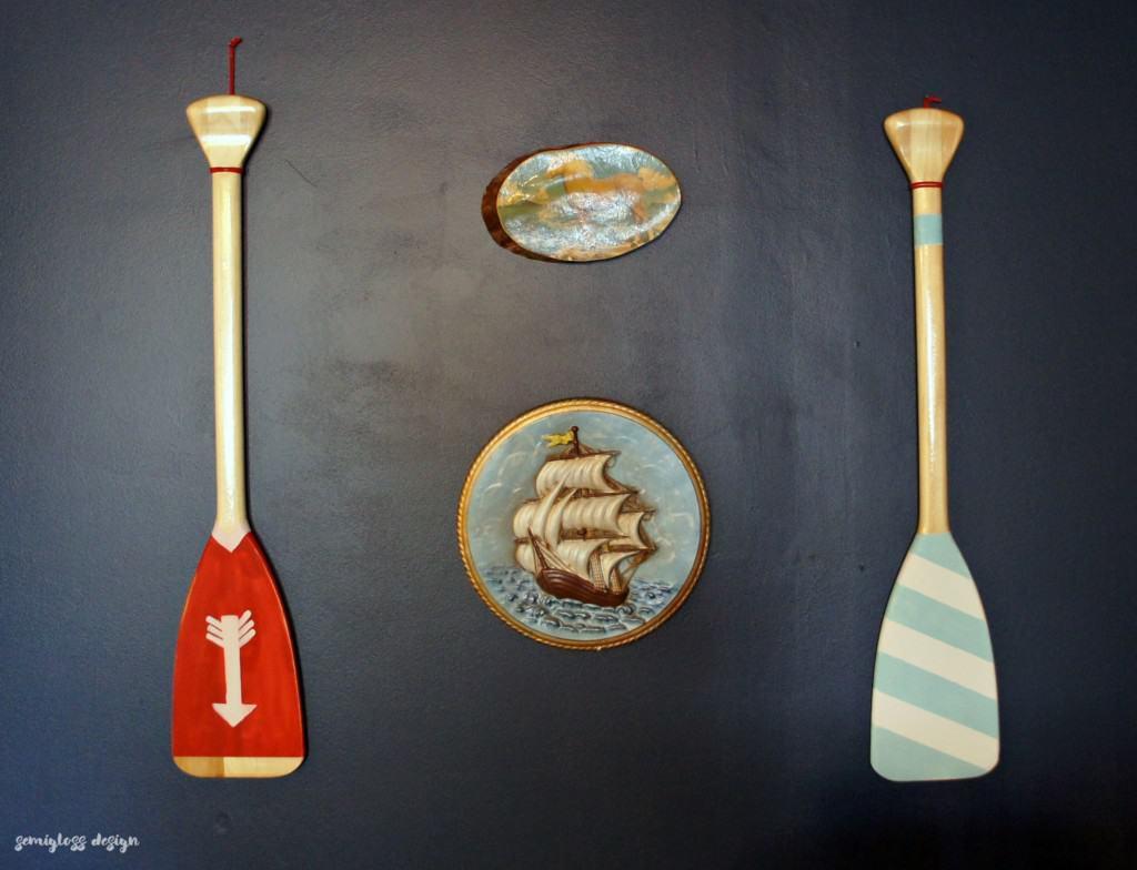 Painted oars on walls