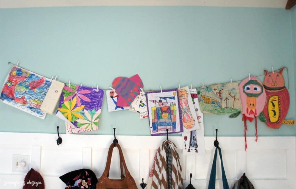 Kid's art display idea. It's so easy!