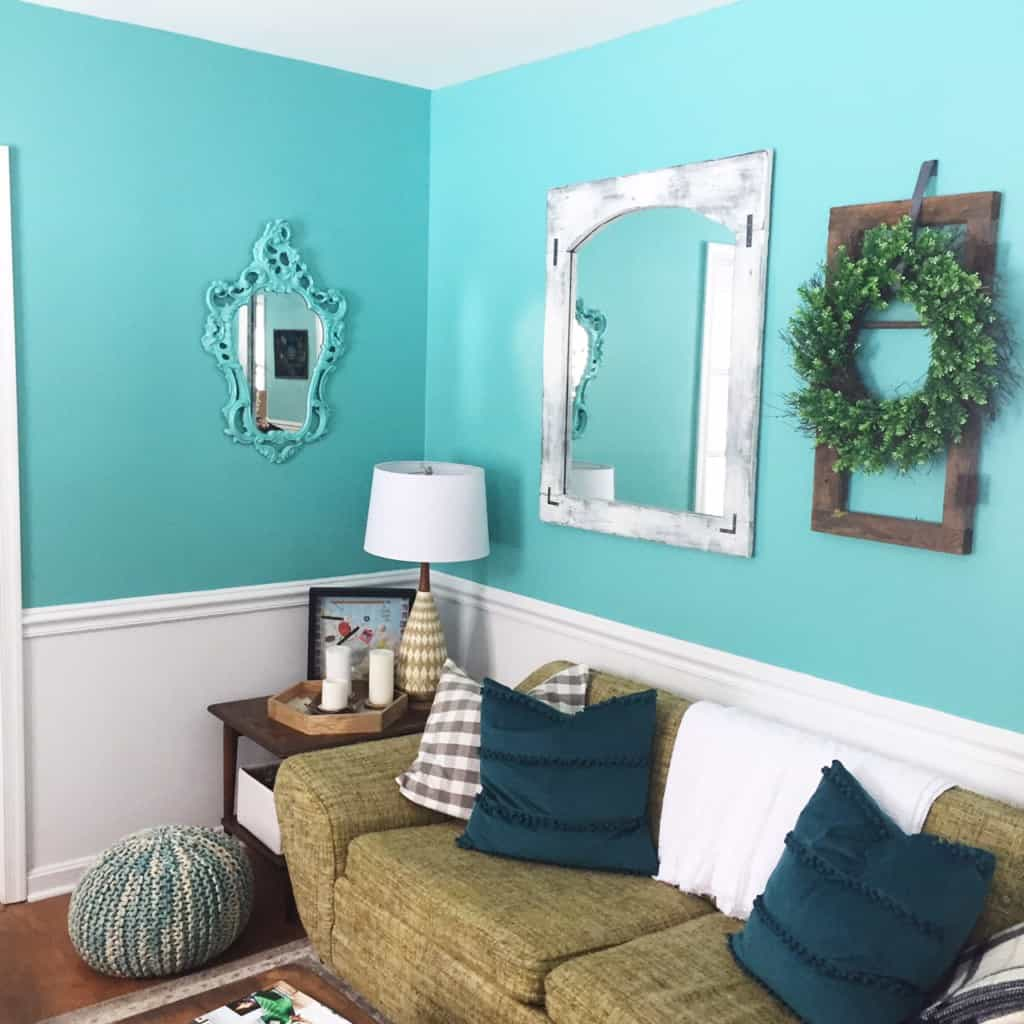 Learn how to use an Indian inlay stencil for a mirror makeover! This easy DIY makeover is a great way to add a boho touch to your home!