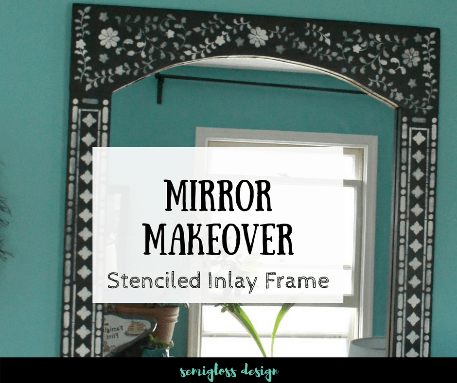 This boho inspired mirror makeover used an inlay stencil. Stencils are a great, budget friendly way to get the look of bone inlay at a fraction of the cost.