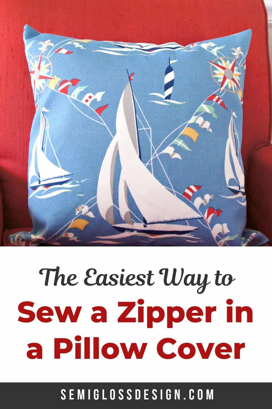 sew a zipper in a pillow