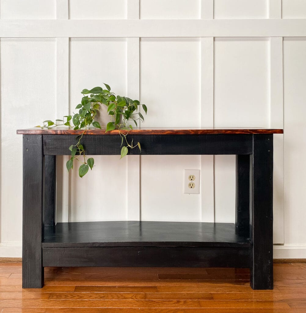black sofa table with wood top