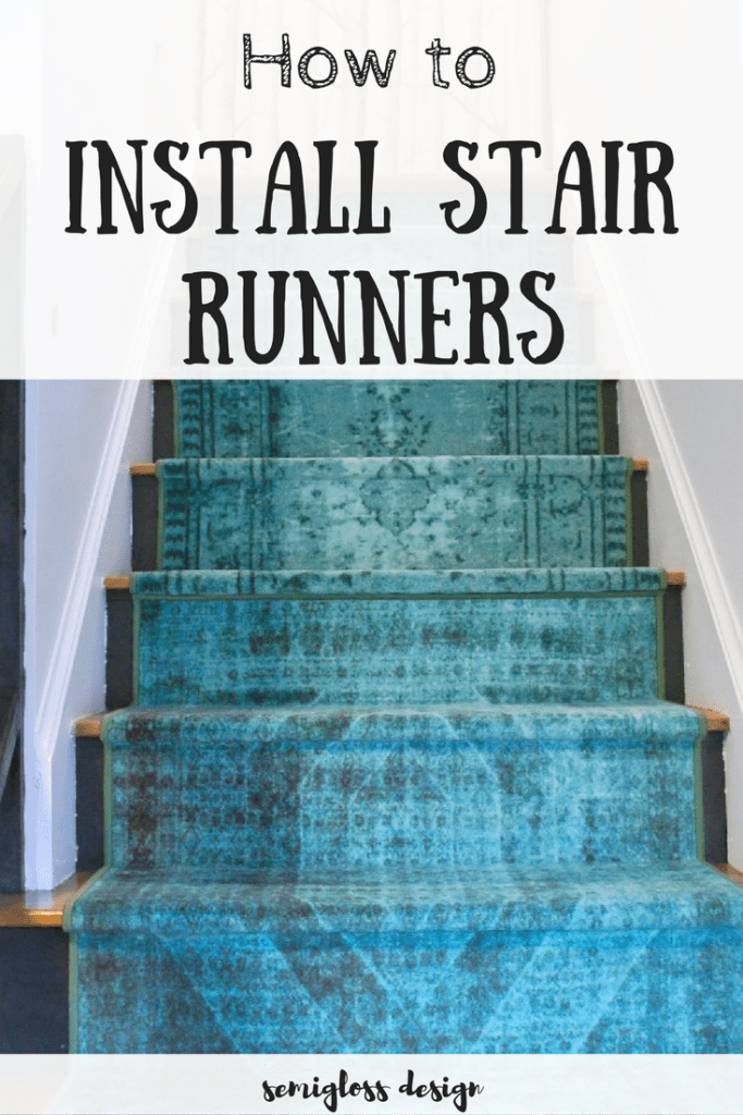 Learn how to install stair runners using normal floor runners. This easy DIY project can completely transform ugly stairs!