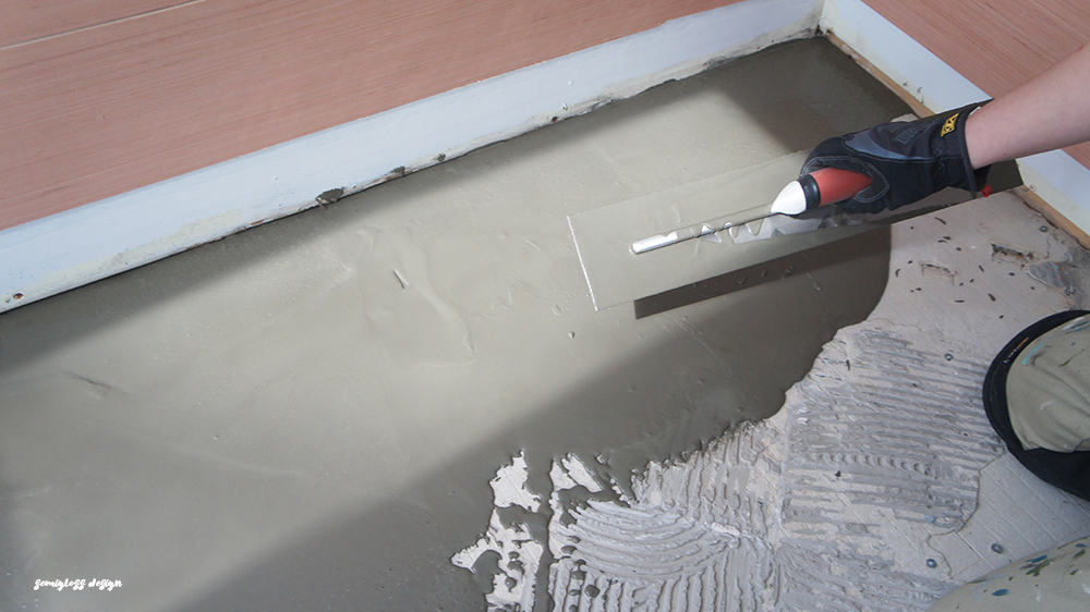 applying concrete skimcoat over tile mortar