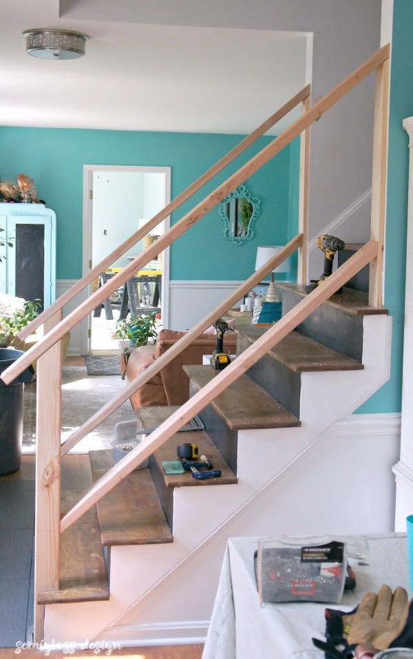 add bottom rails to stair railing