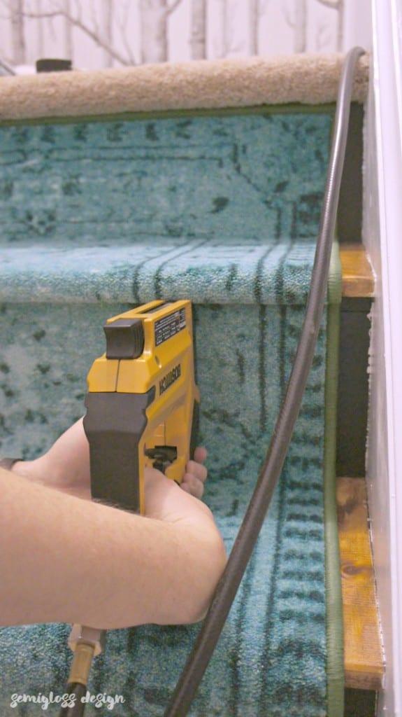 Stapling carpet