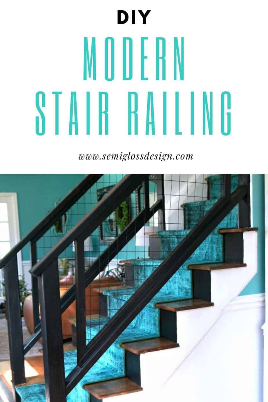 modern stair railing makeover