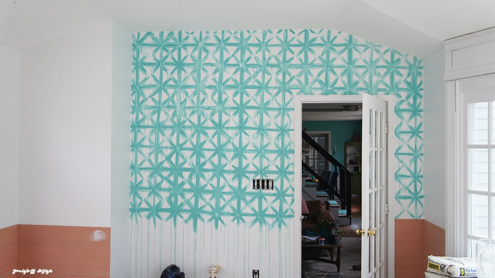 Painting your own shibori walls is a fun way to add a boho feel to a room! Much cheaper than wallpaper!