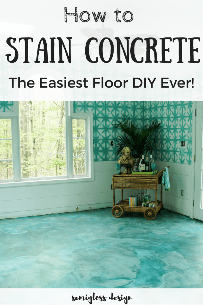 stain concrete floors | DIY stain concrete | stain concrete slab | stain basement floor | acid stain concrete | aqua floors | stain concrete blue | how to stain concrete | update floors | inexpensive floor update | affordable floors