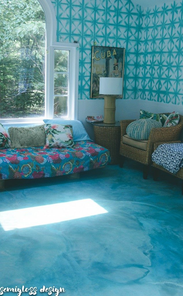 Stained concrete floors in sunroom