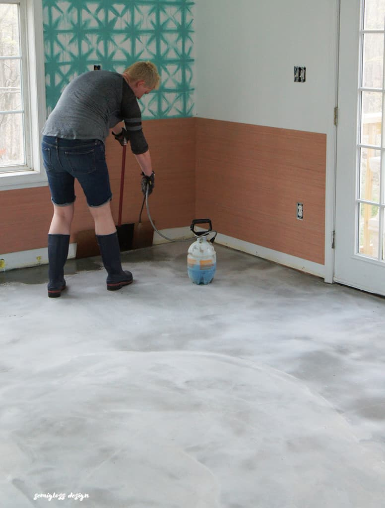 grey stained concrete floors. DIY stained concrete is an easy affordable solution for your ugly floors  Come check out Stained Concrete Floors are So Easy semigloss design