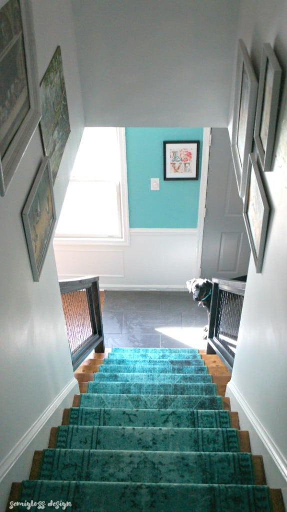My staircase renovation. See how I transformed my boring, traditional staircase into a modern, colorful staircase with DIYs.