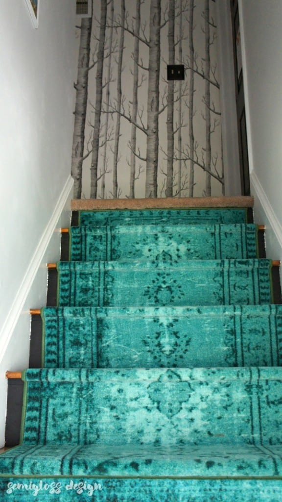 modern teal stair runner with in the woods wallpaper