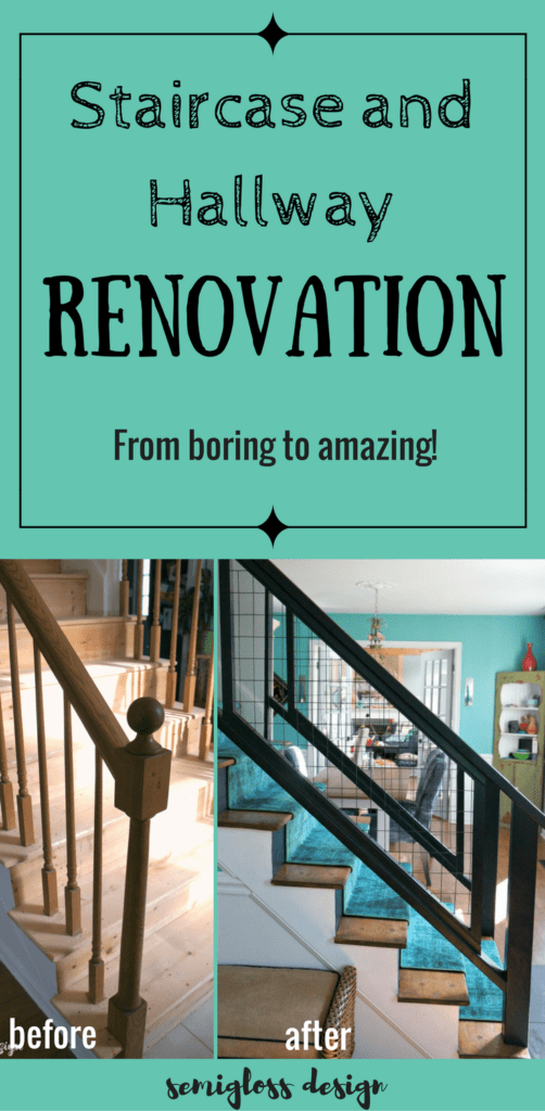 staircase renovation | staircase remodel | staircase makeover | modern staircase | stair railing | colorful staircase | stair runner | DIY staircase | unique staircase | staircase before and after