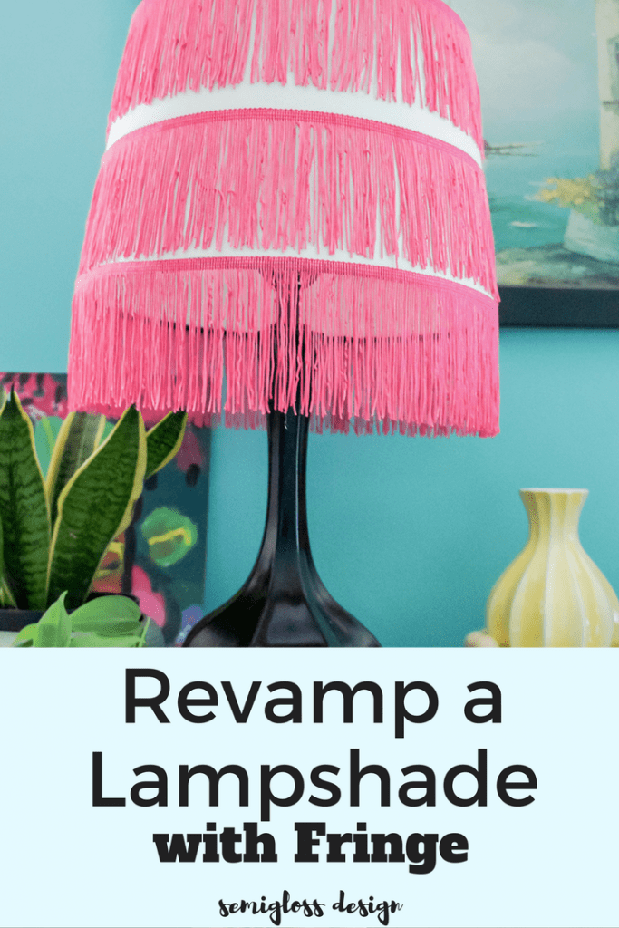 lampshade redo | lampshade makeover | revamp a lampshade | fringe lampshade | decorate lampshade | unique lampshade