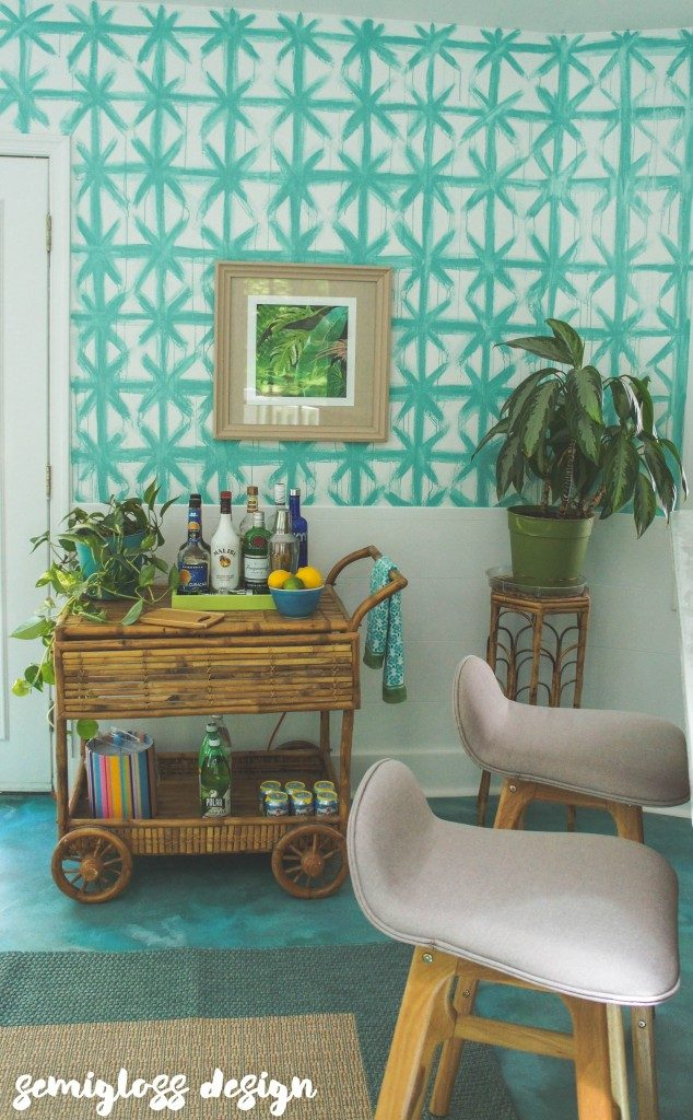 Tropical tiki sunroom reveal. If you love colorful makeovers, this is for you. This room is filled with budget friendly techniques for a unique look!