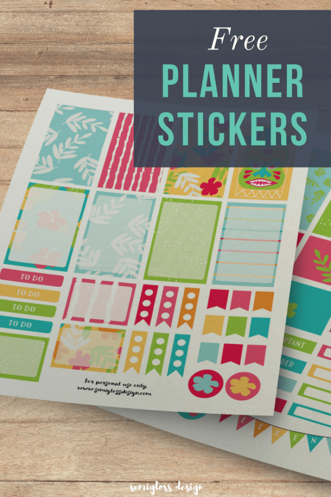 Free Printable Tropical Planner Stickers Semigloss Design